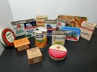 Vintage Tins and Boxes Advertising Mixed Lot of 14 Kitchen, Office,  Bathroom