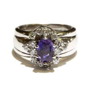 14k white gold .48ct SI2 I diamond Natural amethyst gemstone ring 8.6g size 4.5