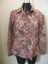 Etro Italy Sz 40 Small Button Down Shirt Pink Purple Paisley Long Sleeves S NICE