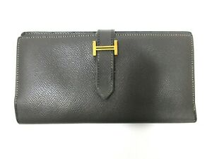 Authentic HERMES Bearn Soufflet Long Wallet Leather Gray 94709