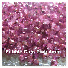 Czech Faceted Glass Fire Polished 4mm Metallic Bubblegum 100 Jewelry Findings