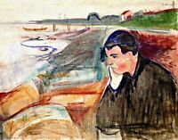 Evening Melancholy by Edvard Munch. Life Art Repro choose Canvas or Paper