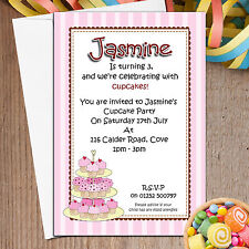 10 Personalised Girls Birthday Tea Party Cupcake Party Invitations N51