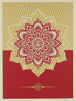 SHEPARD FAIREY OBEY GIANT RED GOLD HOLIDAY GIFT MANDALA STAR ORNAMENT ART PRINT