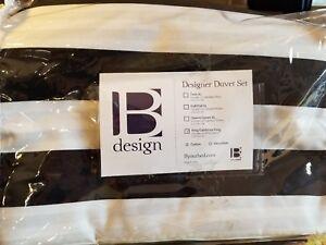 B YOUR BED DESIGN DUVET SET SHAMS KING BED BEDROOM BLACK STRIPED COTTON DECOR