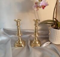 Antique Matching Pair of Victorian Brass Candlesticks-Circa 1850