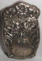 Antique Art Nouveau Sterling Silver Match Safe Case Vesta Box Repousse Floral