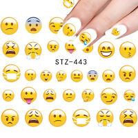 Nail Art Water Decals Transfer Stickers Emoji Mixed Emotion Kawaii Gel Polish