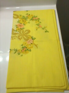Vintage JC Penney percale full size yellow floral sheet pillowcases NIB