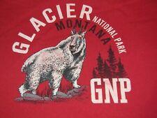 GLACIER NATIONAL PARK longsleeve red t shirt MONTANA men's M Mountain Goat