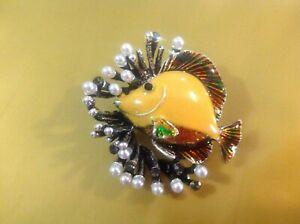 Yellow Reef Fish Enamel Pin Brooch Rhinestones Animal Jewelry Sea Creature Ocean