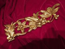 Antique French Ormolu Bronze Furniture Mount Floral Trim Pediment