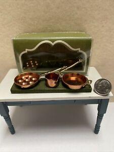 Vintage NIP Bodo Hennig Copper Pots & Pans Dollhouse Miniature 1:12