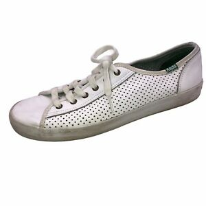 Keds Kickstart Womens Size 8 Sneakers Shoes Perforated Leather White Green Retro