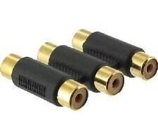 TRIPLE 3 X RCA Fono Accoppiatore Femmina a Femmina Audio Video Connettore Adattatore Oro