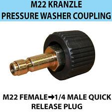 """Kranzle M22 Filettatura-Donna rapido rilascio 1/4"""" MASCHIO PRESSIONE lavaggio di accoppiamento"""