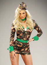 Womens Short Sequin Army Girl Costume