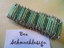 Armband gefädelt, grün, SI-Nadeln, Handarbeit, Gummizug