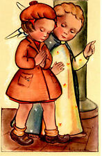 "Vintage Netherlands Postcard Praying Young Girl & Angel 3.5"" x 5.5"""