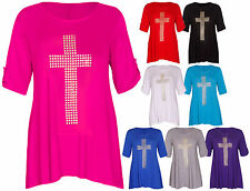 Womens New Cross Studded Ladies 3/4 Turn Up Sleeve Stretch T-Shirt Top Plus Size