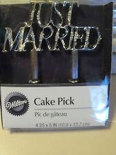 WILTON Wedding Cake Topper pick Silver Bling  JUST MARRIED Flower insert NEW