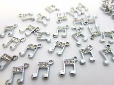 10 Music Note Crystal Rhinestone Silver Plated Charm/Bracelet/Beading/Craft K148
