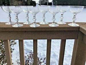 """HAWKES WHEAT PATTERN 6 1/2"""" 8 OZ SIGNED SET OF (8) CHAMPAGNE/COUPE GLASSES"""