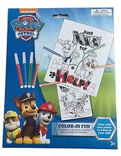 Brand New Nickelodeon Paw Patrol Color In Fun - 4 Markers and 2 Coloring Sheets