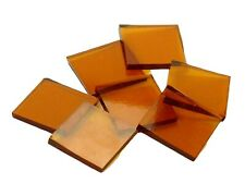 Medium Amber Cathedral Squares   Fusible 96   Cut Mosaic Glass Tile Shapes