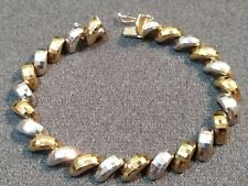 Signed Milor Italy 925 Sterling Silver Gold Vermeil Facetted Two Tone San Marco