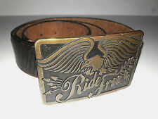 Vintage Ride Free American Eagle Motorcycle Buckle AE  & Guess Leather Belt