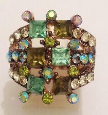 bague style vintage couleur or vieilli tout de cristaux couleur brille réglable
