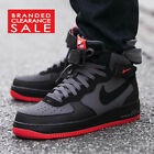 BNIB NEW MEN NIKE AIR FORCE 1 MID '07 BLACK GREY RED TRAINERS SIZE 4 5 6