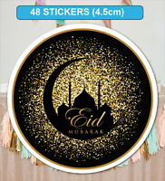 48 GLOSSY / MATT Eid Mubarak Celebration Stickers Labels for Party Bag Seals