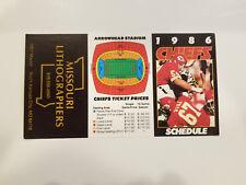 Kansas City Chiefs 1986 NFL Football Pocket Schedule - Missouri Lithographers