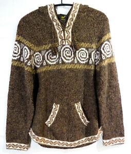Pullover Alpakawolle Pulli braun/ Meliert Kapuzen Norweger weich mit Muster M