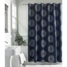 Cannon Henna Medallion 100% Cotton Shower Curtain Navy Blue