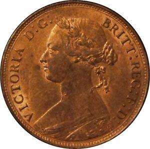 1877 Halfpenny, Victoria. Uncirculated. F 333. Rare.