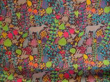 Children Fabric, Poplin, Brown, Stenzo, Animals, Flower Pattern, Dress Fabric
