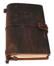 Leather Notebook Journal Handmade Vintage Leather Travel Diary Notepad 11 x 17cm