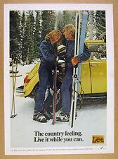 1973 Lee Rider Jeans yellow VW Volkswagen Beetle & Skiers photo vintage print Ad