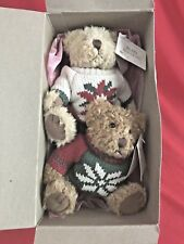 "Russ  ""BEARS FROM THE PAST"" Brown Plush 6"" Bears 2 With Sweaters On"