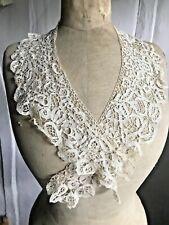 Antique Lace Collar Cream Silk Bobbin Tape Lace Vintage Wedding /Period Costume