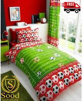 Children's Single Duvet Cover and Pillowcase Set,Design Goal Football- Red
