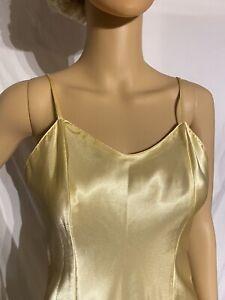 Vintage Secret Treasures Satin Chemise Negligee Nightgown Yellow Small