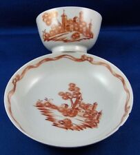 Rare Antique Chinese Export Porcelain Scenic Cup & Saucer Porzellan Scene China