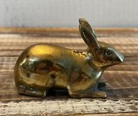 "Vintage Brass Rabbit Bunny Animal Figurine 2.5"" long"