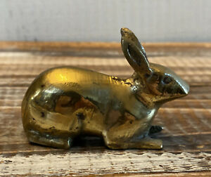 "Vintage Brass Rabbit Bunny Animal Figurine 2.5"" long"