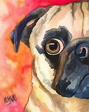 Pug Art Print from Painting | Pug Gifts, Poster, Picture, Home Decor 8x10