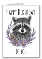 Raccoon Card Happy Birthday Flower Garland Cute All Cards 3for2